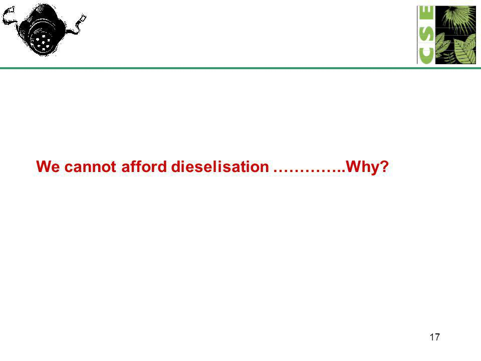 17 We cannot afford dieselisation …………..Why