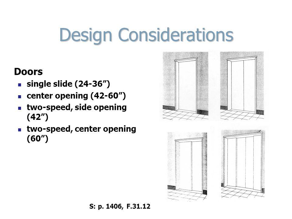 Design Considerations Doors single slide (24-36) center opening (42-60) two-speed, side opening (42) two-speed, center opening (60) S: p. 1406, F.31.1