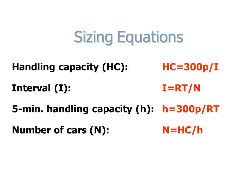 Sizing Equations Sizing Equations Handling capacity (HC): HC=300p/I Interval (I): I=RT/N 5-min. handling capacity (h): h=300p/RT Number of cars (N): N