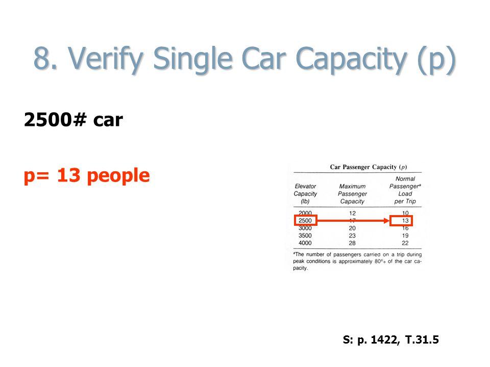 8. Verify Single Car Capacity (p) 2500# car p= 13 people S: p. 1422, T.31.5