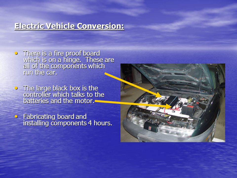 Electric Vehicle Conversion: There is a fire proof board which is on a hinge. These are all of the components which run the car. There is a fire proof