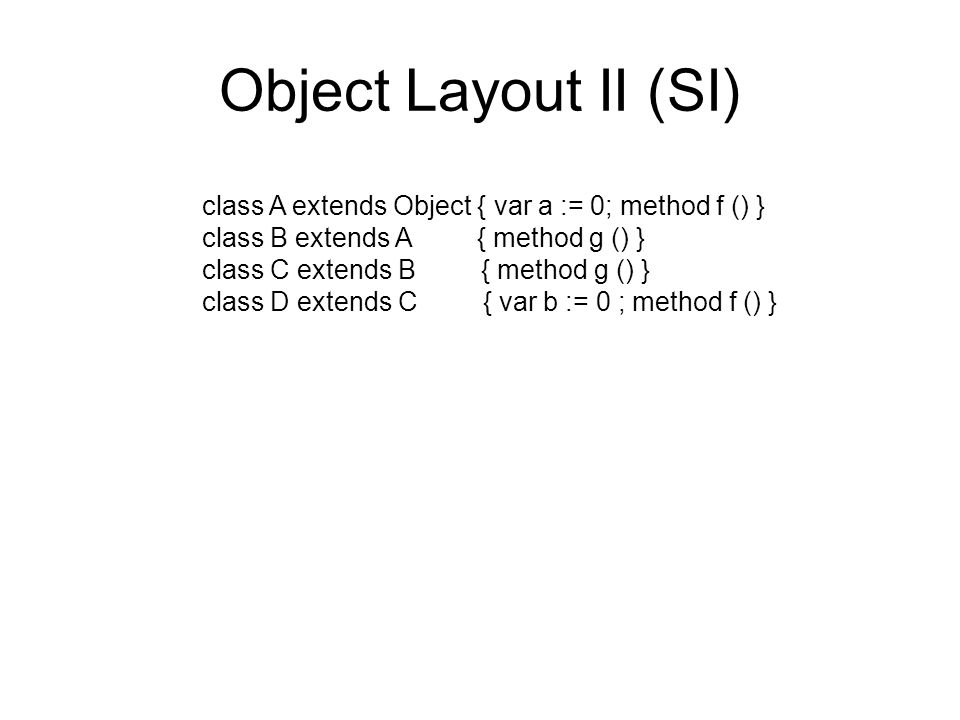 Object Layout II (SI) class A extends Object { var a := 0; method f () } class B extends A { method g () } class C extends B { method g () } class D extends C { var b := 0 ; method f () }