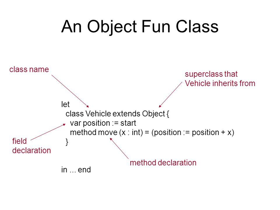 An Object Fun Class let class Vehicle extends Object { var position := start method move (x : int) = (position := position + x) } in...