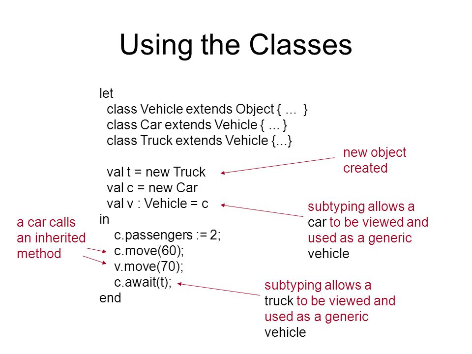 Using the Classes let class Vehicle extends Object {...