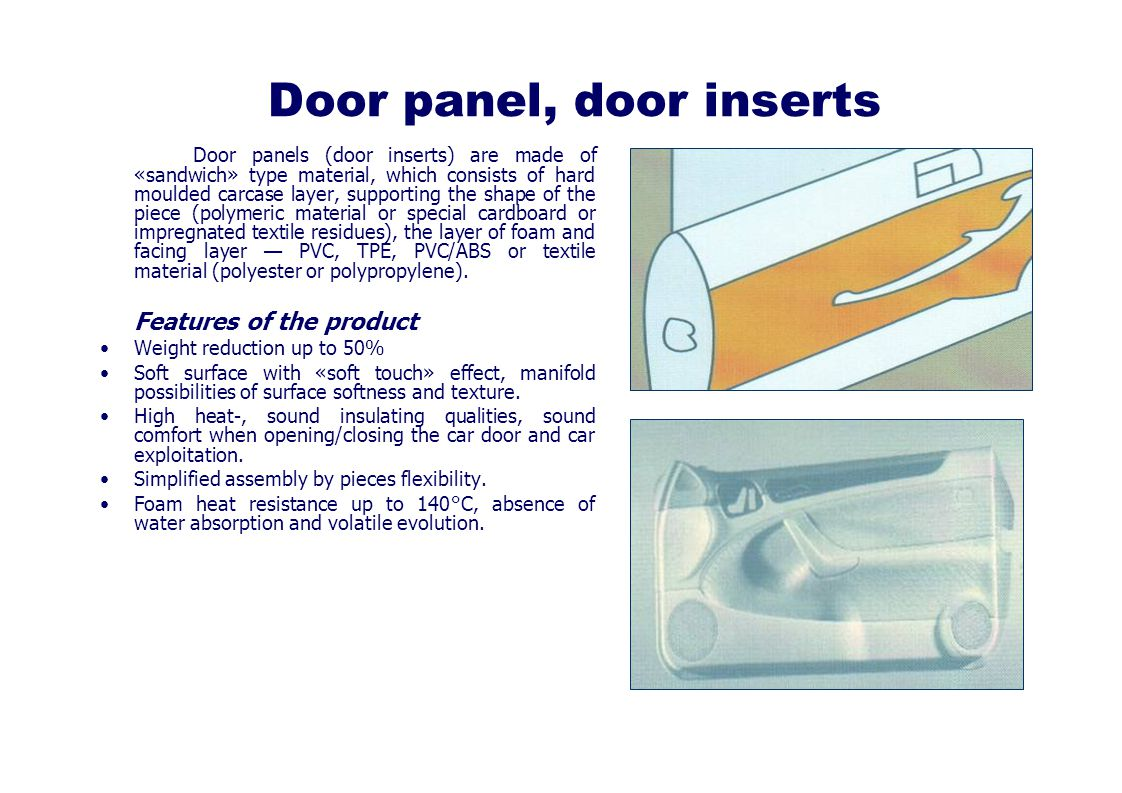 Door panel, door inserts Door panels (door inserts) are made of «sandwich» type material, which consists of hard moulded carcase layer, supporting the shape of the piece (polymeric material or special cardboard or impregnated textile residues), the layer of foam and facing layer PVC, TPE, PVC/ABS or textile material (polyester or polypropylene).