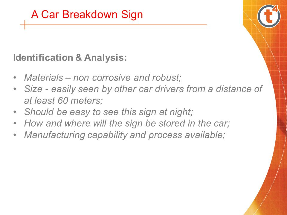 Identification & Analysis: Materials – non corrosive and robust; Size - easily seen by other car drivers from a distance of at least 60 meters; Should