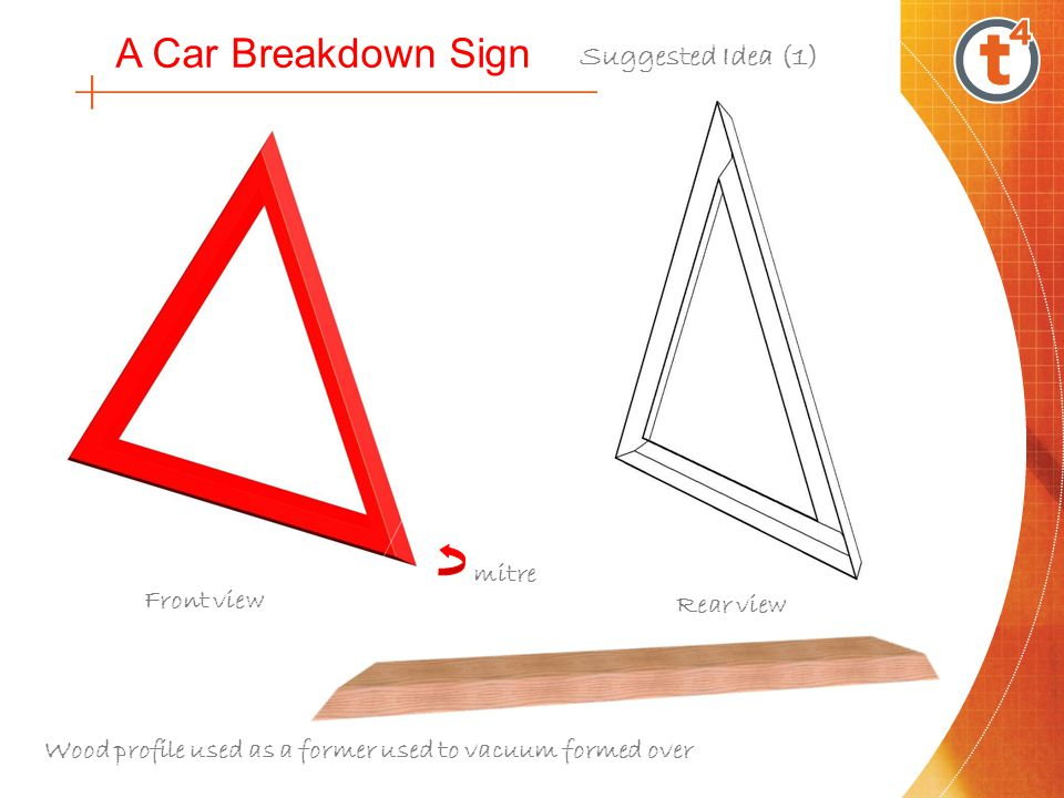 A Car Breakdown Sign Front view Rear view Three single strips made from acrylic plastic folded How will part D be attached to the acrylic strips.