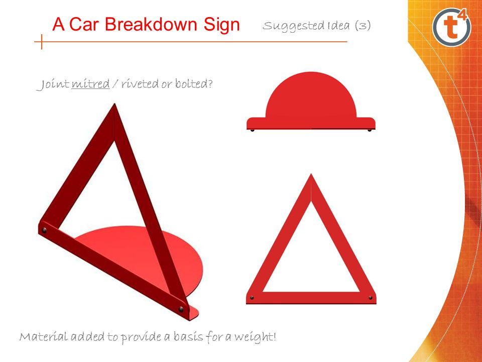 A Car Breakdown Sign Suggested Idea (3) Material added to provide a basis for a weight! Joint mitred / riveted or bolted?
