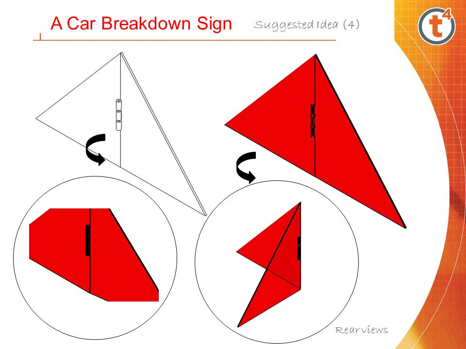 Front view A Car Breakdown Sign Suggested Idea (4) Folded into container & support LEDs could be located around the triangle The box above could also be used to hold a First Aid Kit Acrylic box to house sign