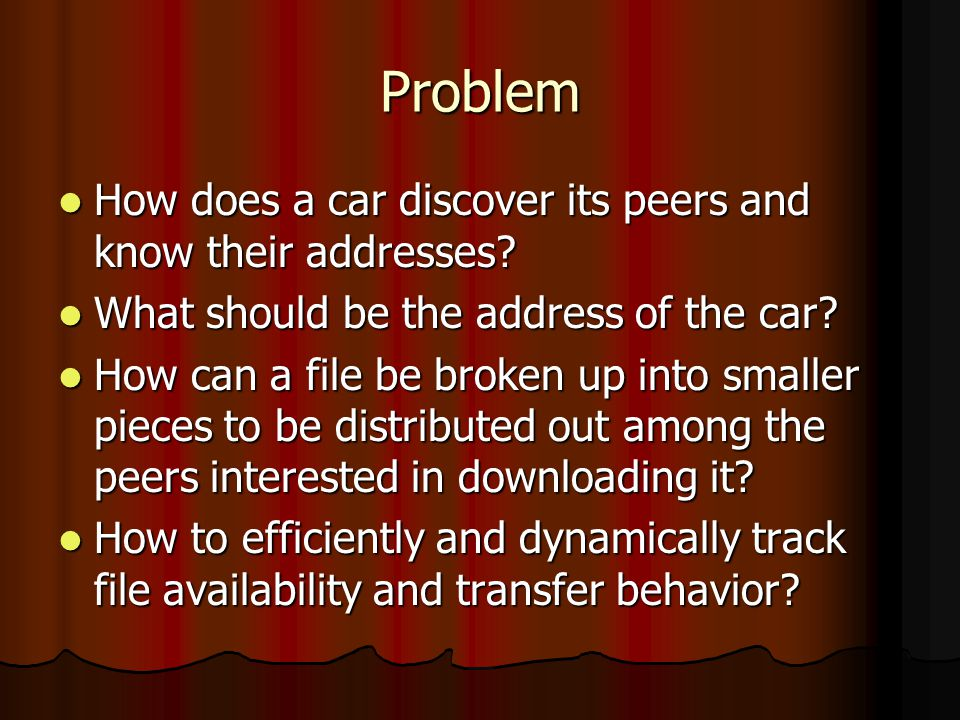 Problem How does a car discover its peers and know their addresses.