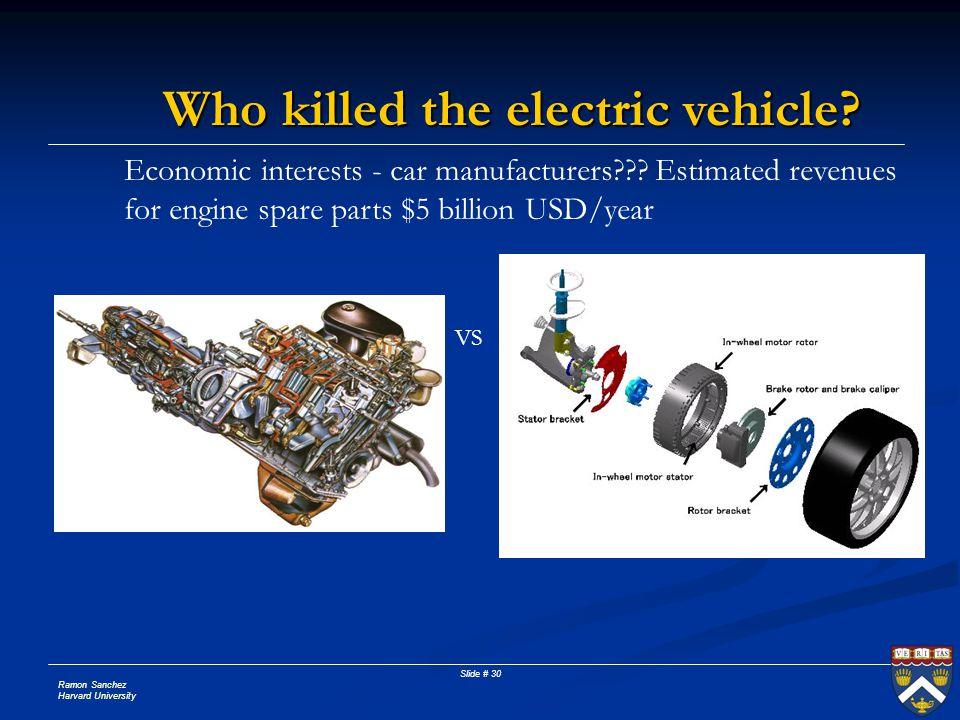 Ramon Sanchez Harvard University Slide # 30 Who killed the electric vehicle.