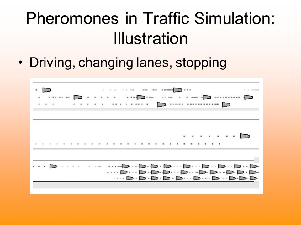 Pheromones in Traffic Simulation: Illustration Driving, changing lanes, stopping