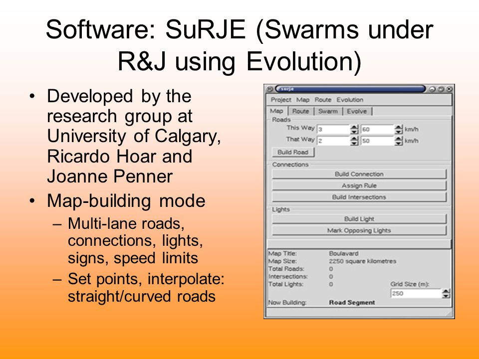 Software: SuRJE (Swarms under R&J using Evolution) Developed by the research group at University of Calgary, Ricardo Hoar and Joanne Penner Map-buildi