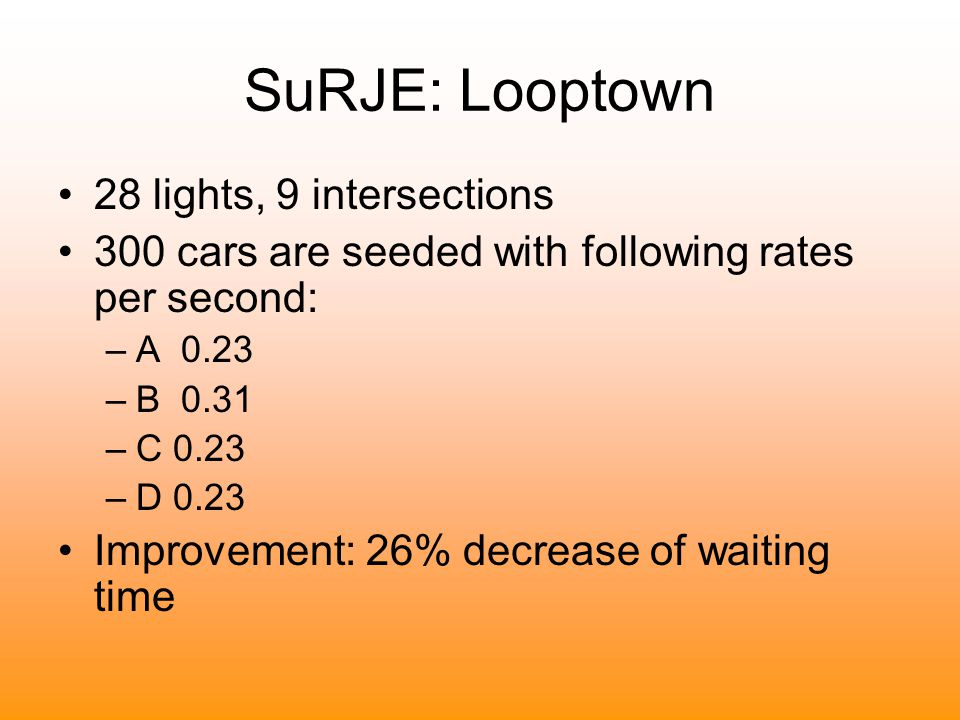 28 lights, 9 intersections 300 cars are seeded with following rates per second: –A 0.23 –B 0.31 –C 0.23 –D 0.23 Improvement: 26% decrease of waiting t