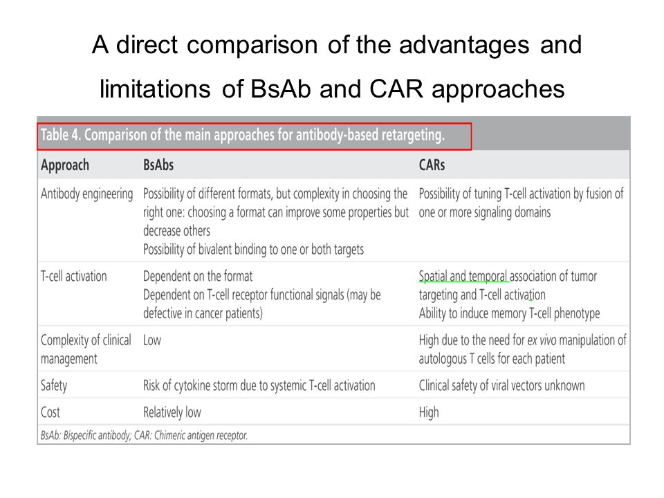 A direct comparison of the advantages and limitations of BsAb and CAR approaches