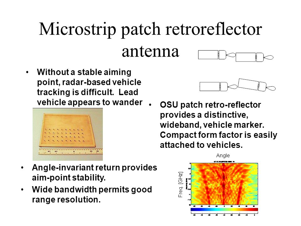 Microstrip patch retroreflector antenna Without a stable aiming point, radar-based vehicle tracking is difficult. Lead vehicle appears to wander OSU p