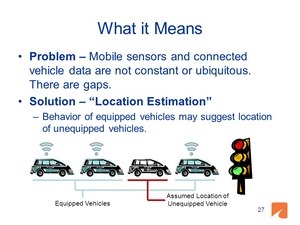 What it Means Problem – Mobile sensors and connected vehicle data are not constant or ubiquitous. There are gaps. Solution – Location Estimation –Beha