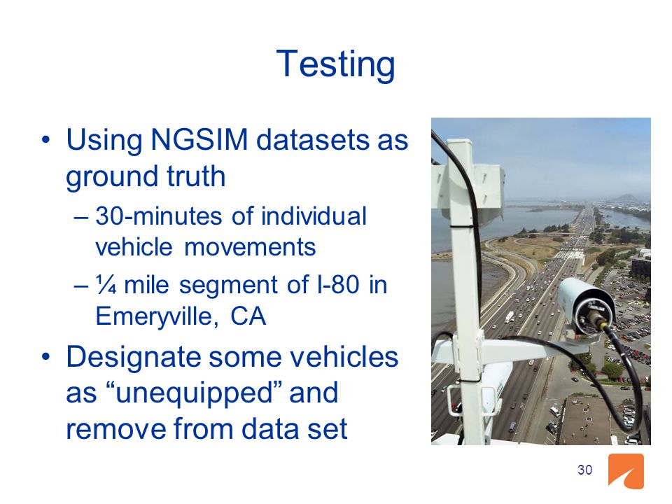 Testing Using NGSIM datasets as ground truth –30-minutes of individual vehicle movements –¼ mile segment of I-80 in Emeryville, CA Designate some vehi