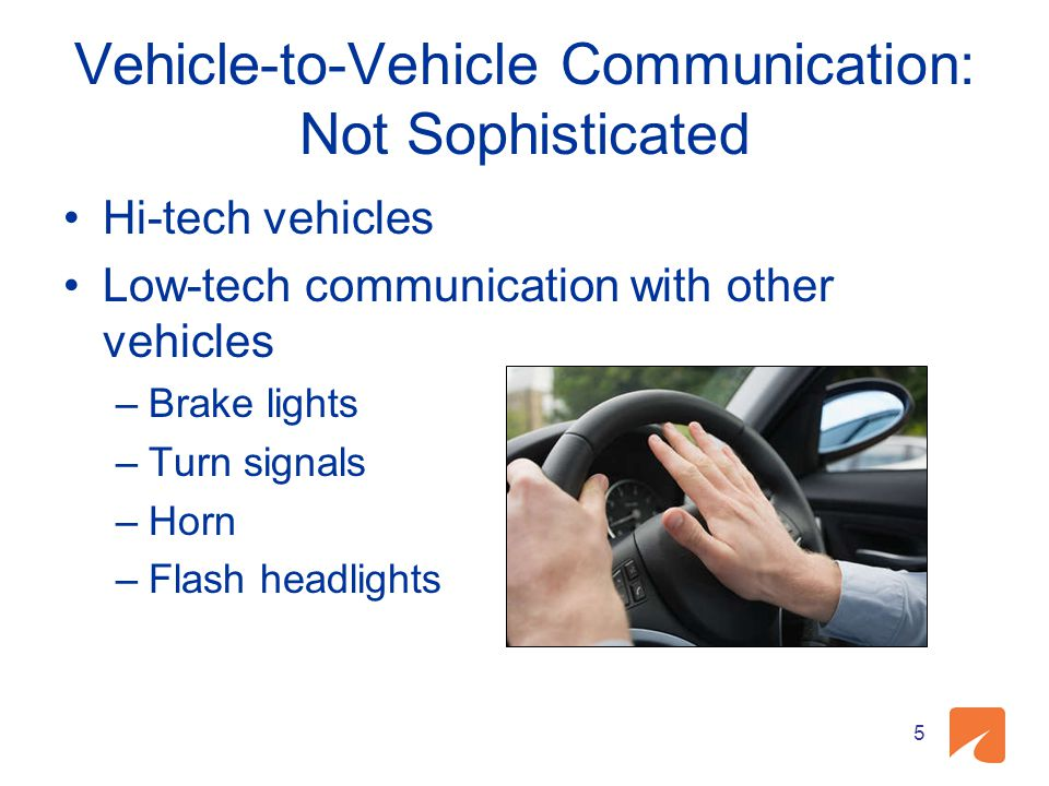 Vehicle-to-Vehicle Communication: Not Sophisticated Hi-tech vehicles Low-tech communication with other vehicles –Brake lights –Turn signals –Horn –Fla