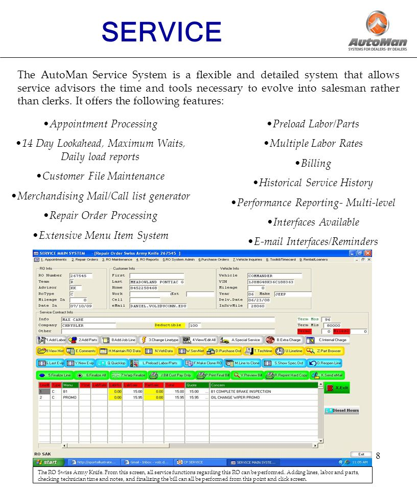9 SERVICE The Service System Appointment Browser.