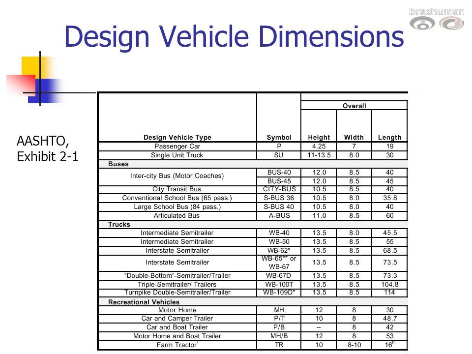 Design Vehicle Dimensions AASHTO, Exhibit 2-1