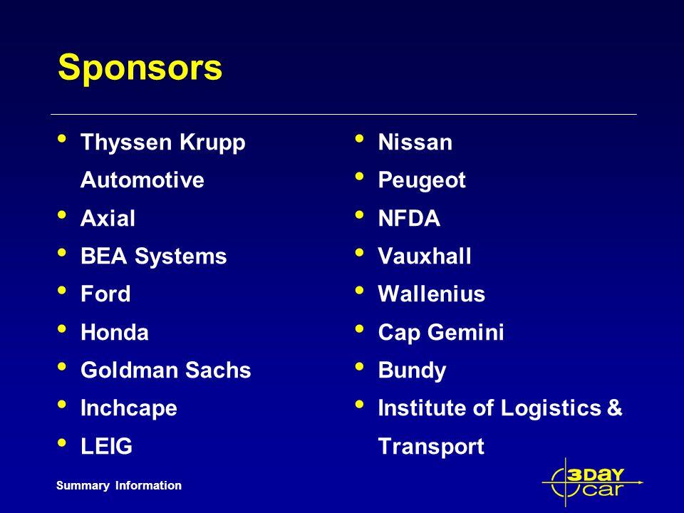 Summary Information Sponsors Thyssen Krupp Automotive Axial BEA Systems Ford Honda Goldman Sachs Inchcape LEIG Nissan Peugeot NFDA Vauxhall Wallenius