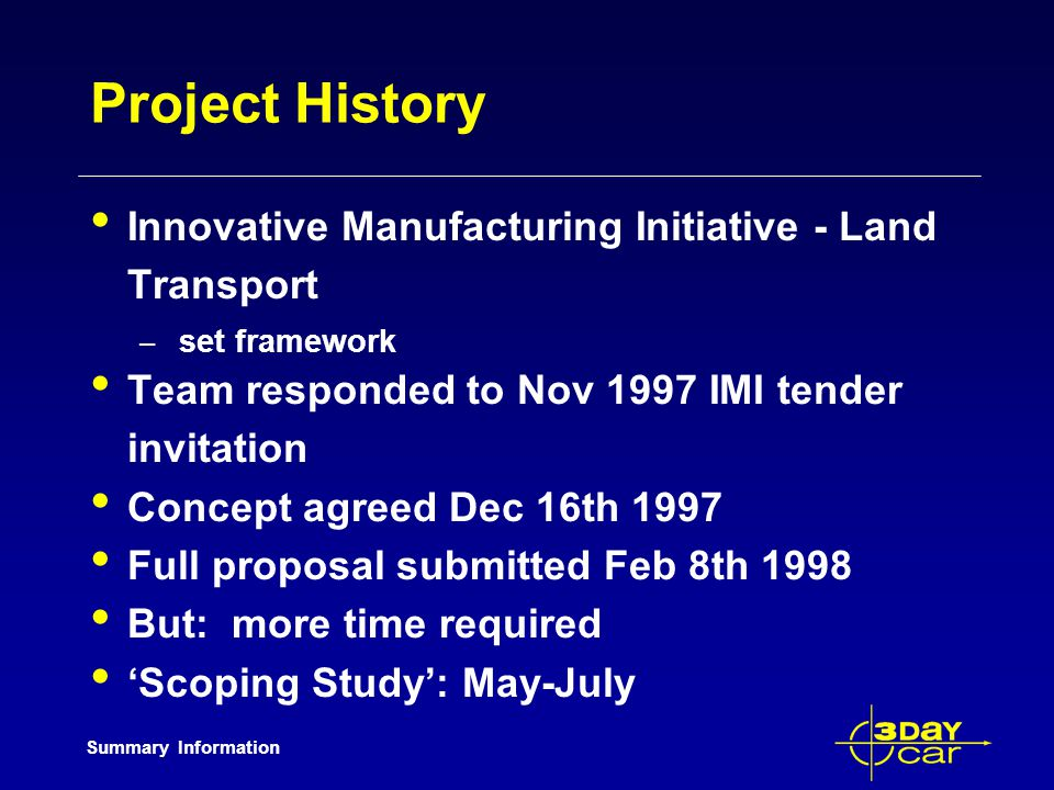 Summary Information Project History Innovative Manufacturing Initiative - Land Transport – set framework Team responded to Nov 1997 IMI tender invitation Concept agreed Dec 16th 1997 Full proposal submitted Feb 8th 1998 But: more time required Scoping Study: May-July