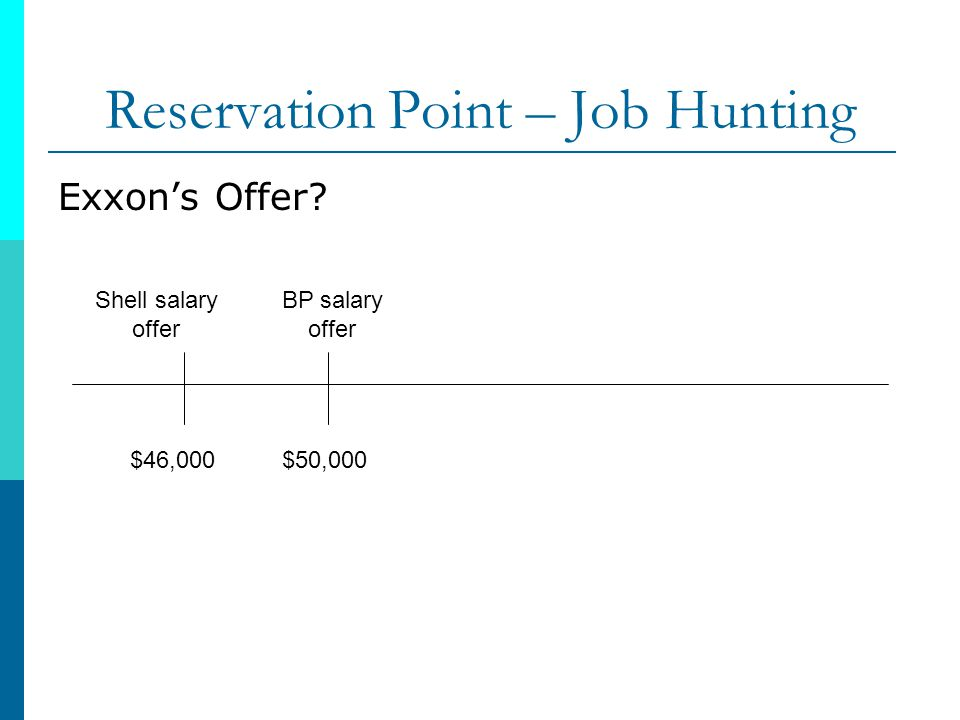 Reservation Point – Job Hunting Exxons Offer? BP salary offer $50,000 Shell salary offer $46,000