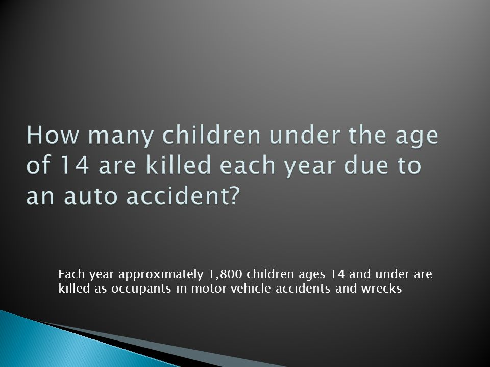 Each year approximately 1,800 children ages 14 and under are killed as occupants in motor vehicle accidents and wrecks