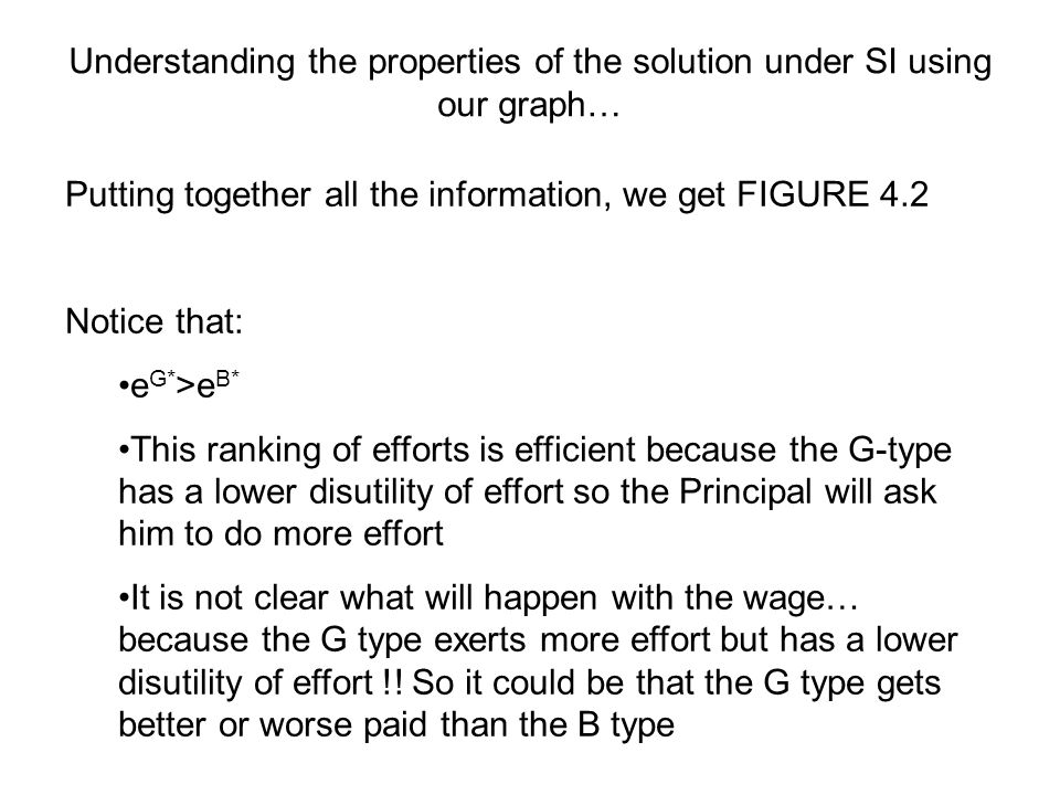 Understanding the properties of the solution under SI using our graph… Putting together all the information, we get FIGURE 4.2 Notice that: e G* >e B* This ranking of efforts is efficient because the G-type has a lower disutility of effort so the Principal will ask him to do more effort It is not clear what will happen with the wage… because the G type exerts more effort but has a lower disutility of effort !.