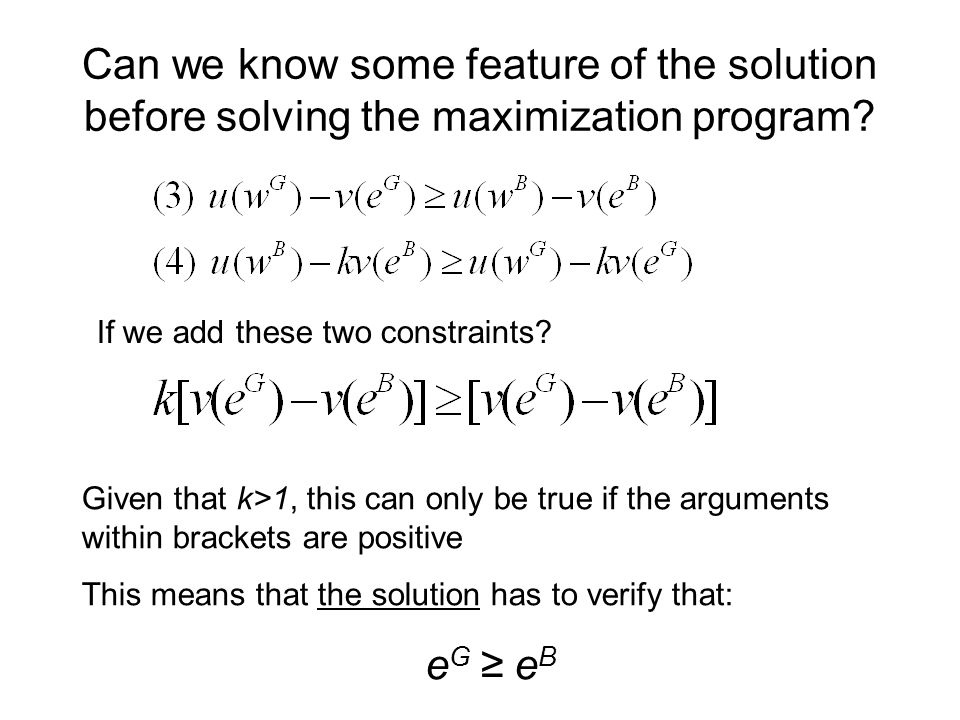 Can we know some feature of the solution before solving the maximization program.