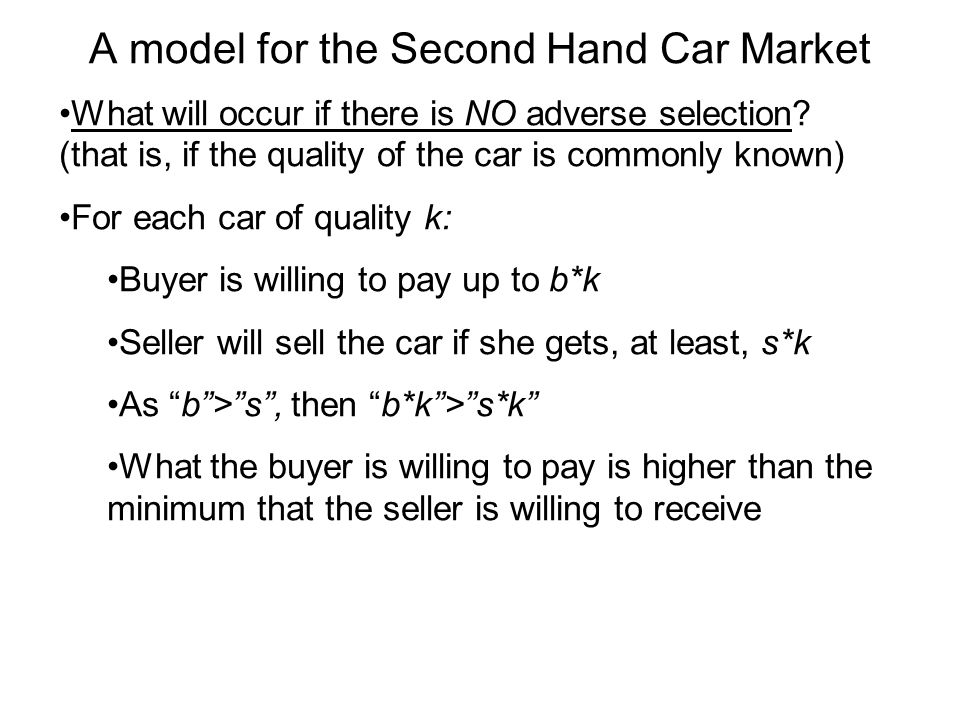 A model for the Second Hand Car Market What will occur if there is NO adverse selection.