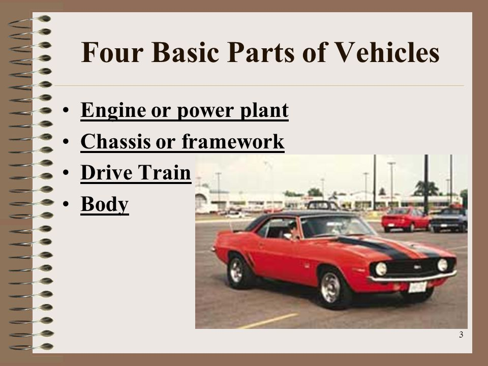 3 Four Basic Parts of Vehicles Engine or power plant Chassis or framework Drive Train Body