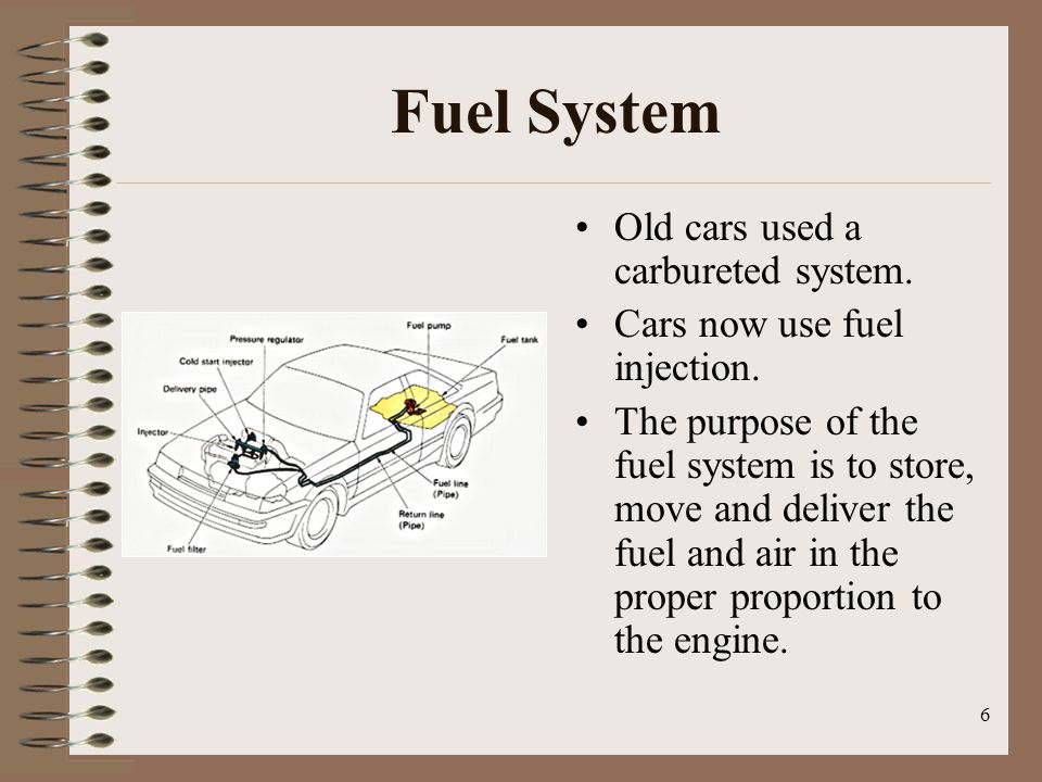 6 Fuel System Old cars used a carbureted system.Cars now use fuel injection.