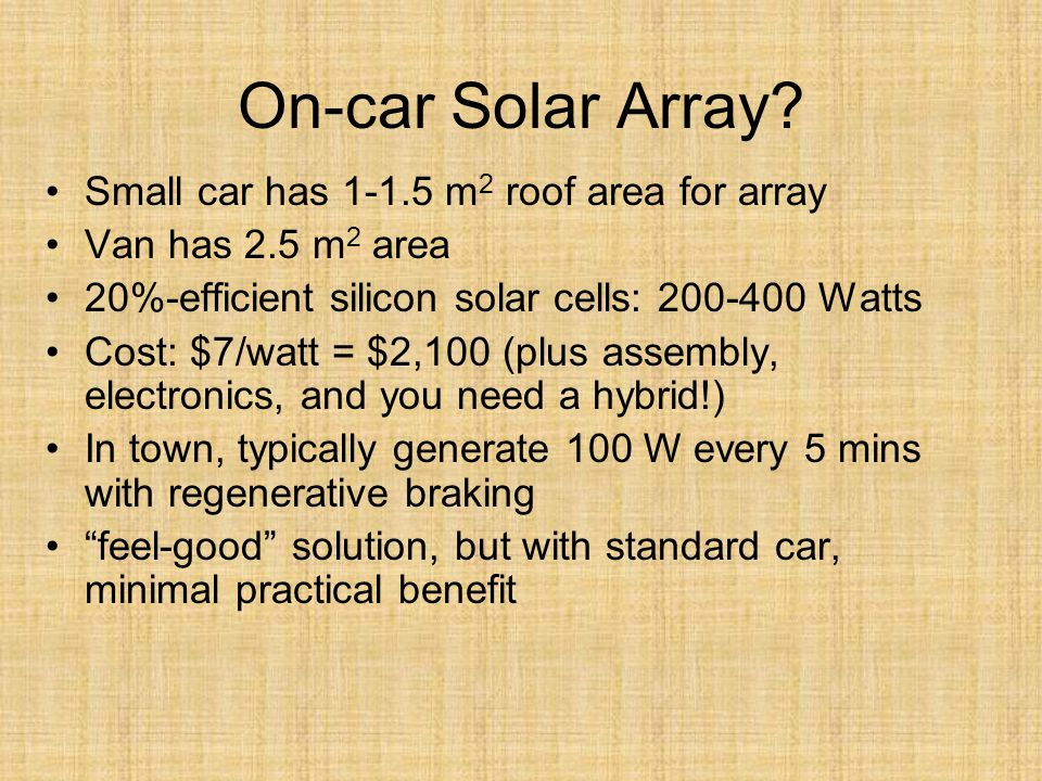 On-car Solar Array.