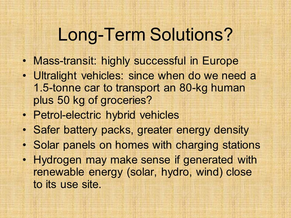 Long-Term Solutions.