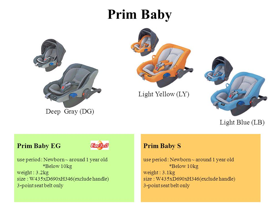 Prim Baby Prim Baby EG use period : Newborn ~ around 1 year old *Below 10kg weight : 3.2kg size : W435xD690xH346(exclude handle) 3-point seat belt only Prim Baby S use period : Newborn ~ around 1 year old *Below 10kg weight : 3.1kg size : W435xD690xH346(exclude handle) 3-point seat belt only Deep Gray (DG) Light Yellow (LY) Light Blue (LB)