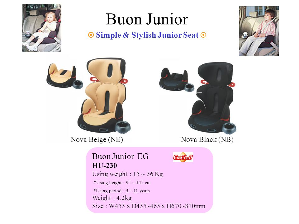 Buon Junior Simple & Stylish Junior Seat Buon Junior EG HU-230 Using weight : 15 ~ 36 Kg *Using height : 95 ~ 145 cm *Using period : 3 ~ 11 years Weight : 4.2kg Size : W455 x D455~465 x H670~810mm Nova Beige (NE)Nova Black (NB)