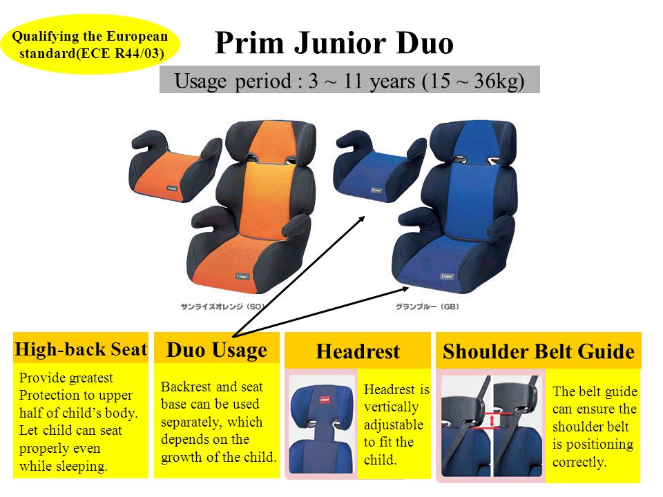 Prim Junior Duo Usage period : 3 ~ 11 years (15 ~ 36kg) Qualifying the European standard(ECE R44/03) Duo Usage Backrest and seat base can be used separately, which depends on the growth of the child.