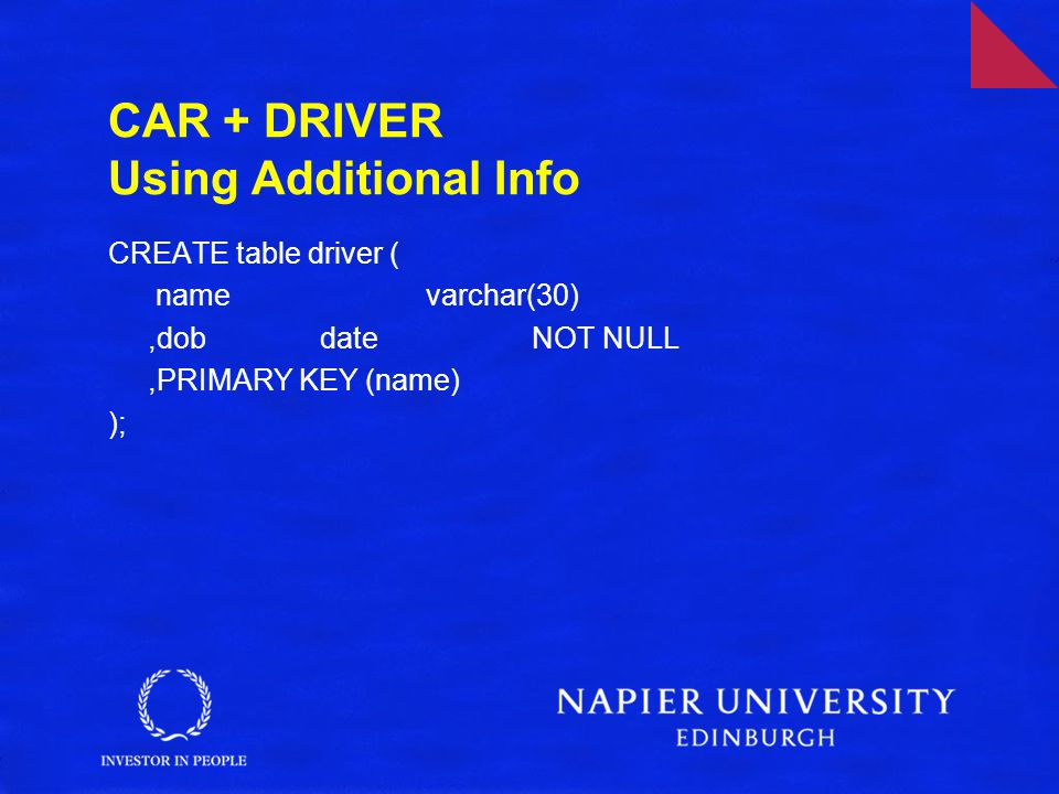 CAR + DRIVER Using Additional Info CREATE table driver ( namevarchar(30),dobdateNOT NULL,PRIMARY KEY (name) );