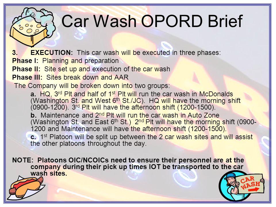 Car Wash OPORD Brief c.Tasks to Subordinates.