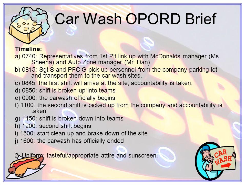 Car Wash OPORD Brief 4.SERVICE SUPPORT.