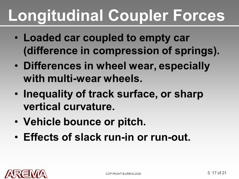 5: 17 of 21 COPYRIGHT © AREMA 2008 Longitudinal Coupler Forces Loaded car coupled to empty car (difference in compression of springs). Differences in