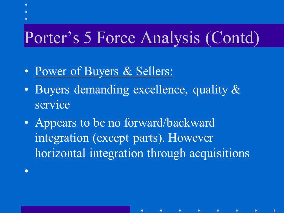 Porters 5 Force Analysis (Contd) Power of Buyers & Sellers: Buyers demanding excellence, quality & service Appears to be no forward/backward integrati