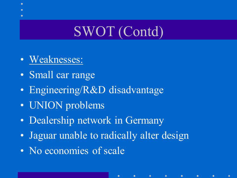 SWOT (Contd) Weaknesses: Small car range Engineering/R&D disadvantage UNION problems Dealership network in Germany Jaguar unable to radically alter de