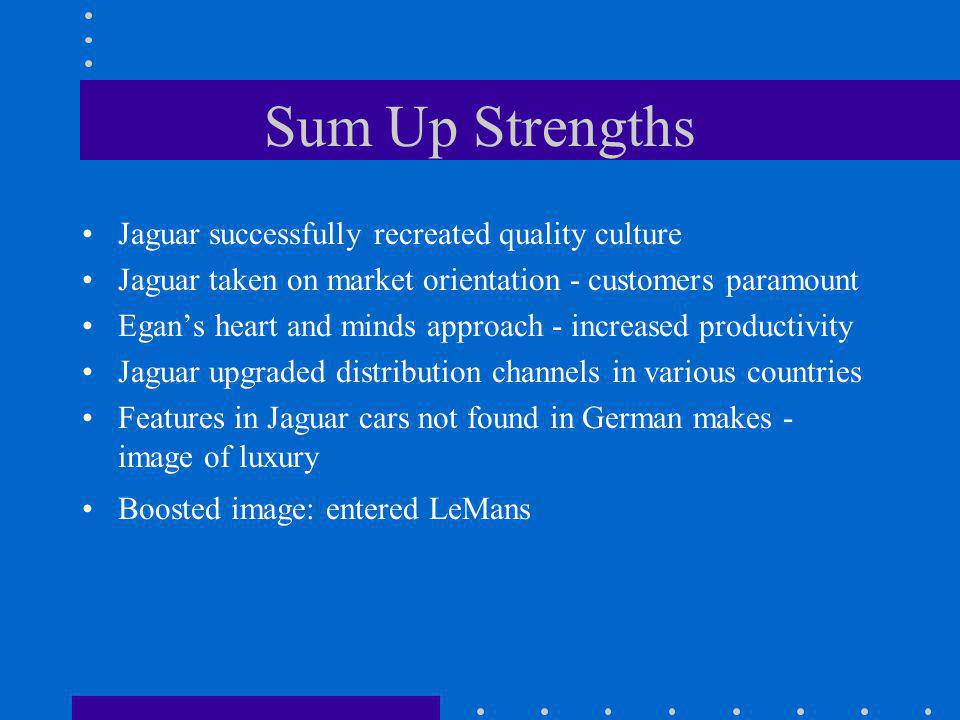 Sum Up Strengths Jaguar successfully recreated quality culture Jaguar taken on market orientation - customers paramount Egans heart and minds approach