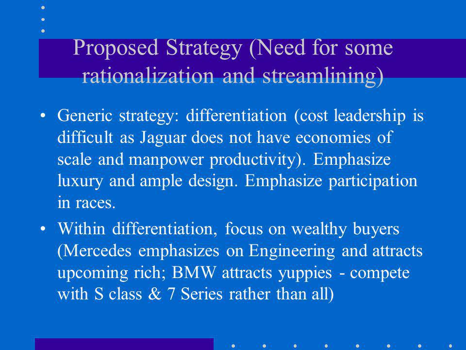 Proposed Strategy (Need for some rationalization and streamlining) Generic strategy: differentiation (cost leadership is difficult as Jaguar does not