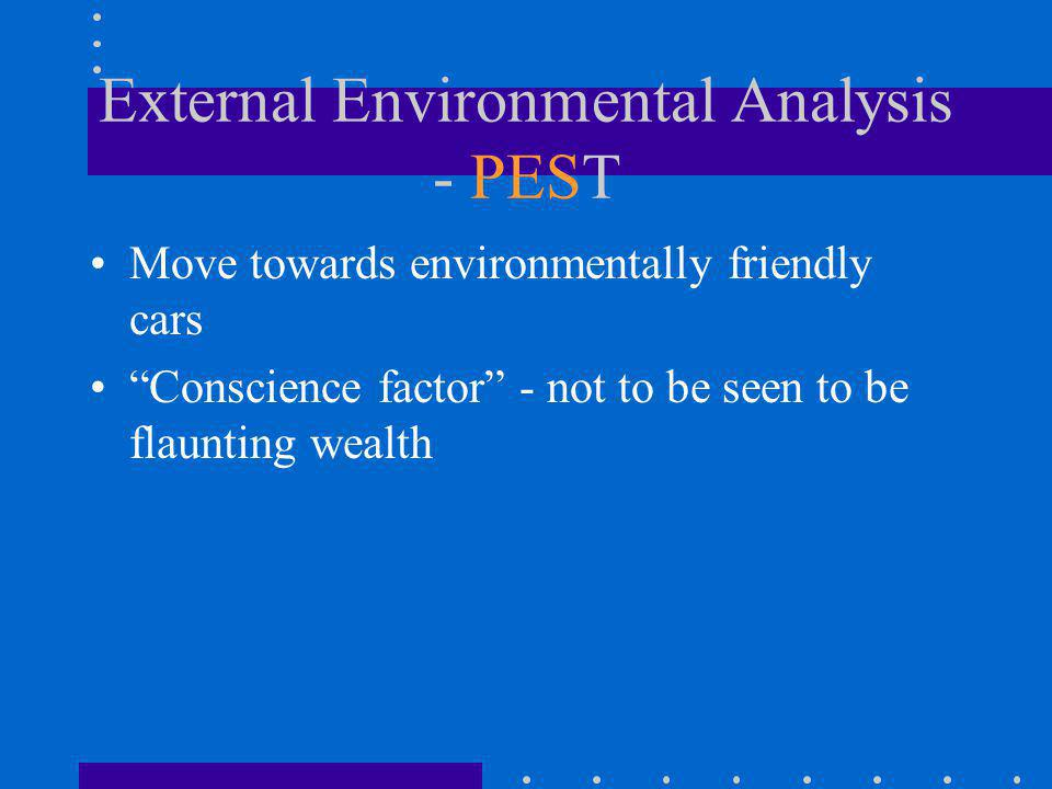 External Environmental Analysis - PEST Move towards environmentally friendly cars Conscience factor - not to be seen to be flaunting wealth