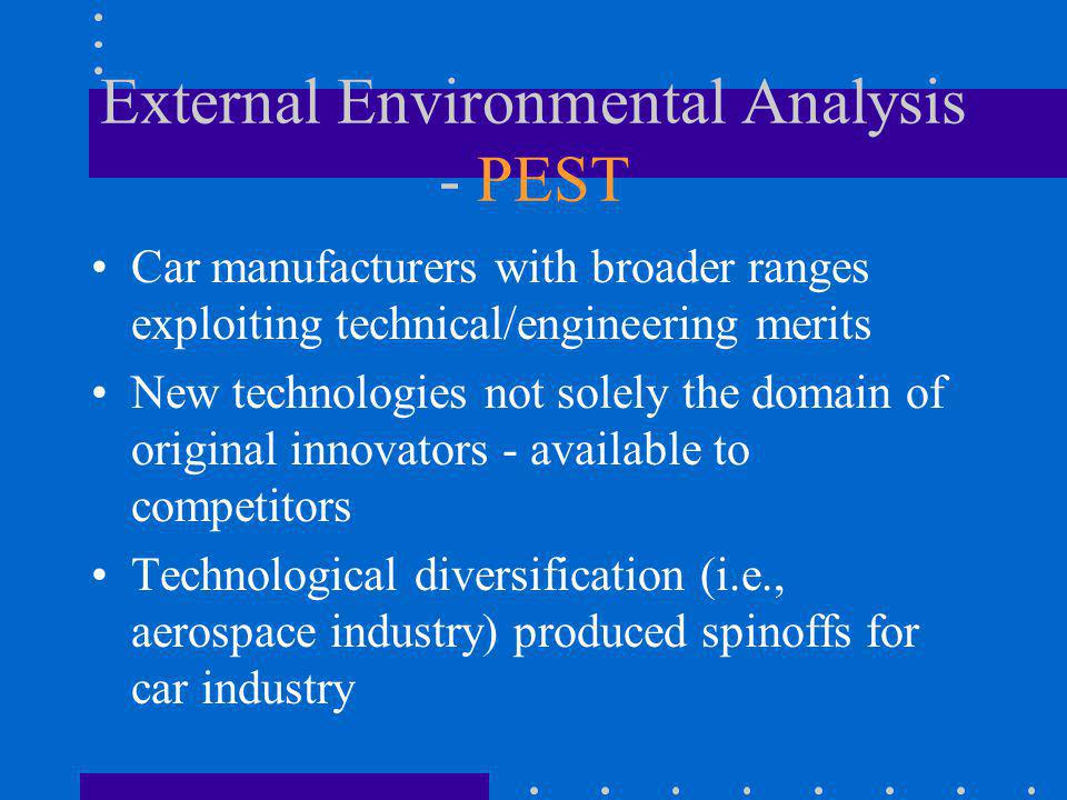 External Environmental Analysis - PEST Car manufacturers with broader ranges exploiting technical/engineering merits New technologies not solely the d