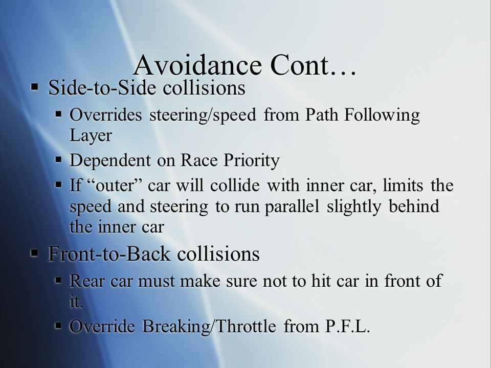 Avoidance Cont… Side-to-Side collisions Overrides steering/speed from Path Following Layer Dependent on Race Priority If outer car will collide with i
